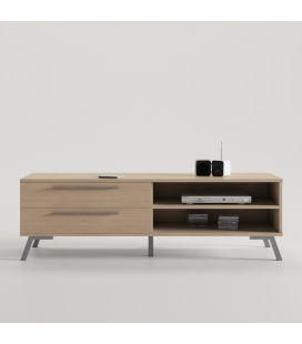 MUEBLE TV TRENDY COLOR ROBLE CON PATA VINTAGE Y TIRADOR LINE COOLOR ALUMINIO