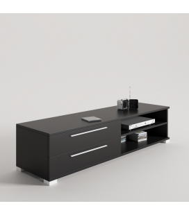 MUEBLE TV NEGRO CON PATA BASE Y TIRADOR LINE BLANCO