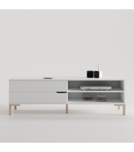 MUEBLE TV BLANCO CON PATA CONTEMPORÁNEA COLOR HAYA Y TIRADOR WAVE