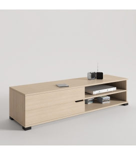 MUEBLE TV TRENDY COLOR ROBLE CON PATA BASE NEGRA Y TIRADOR WAVE