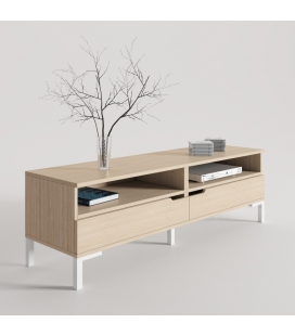 MUEBLE TV PERPIÑÁN EN ROBLE CON PATA CONTEMPORÁNEA EN COLOR BLANCO